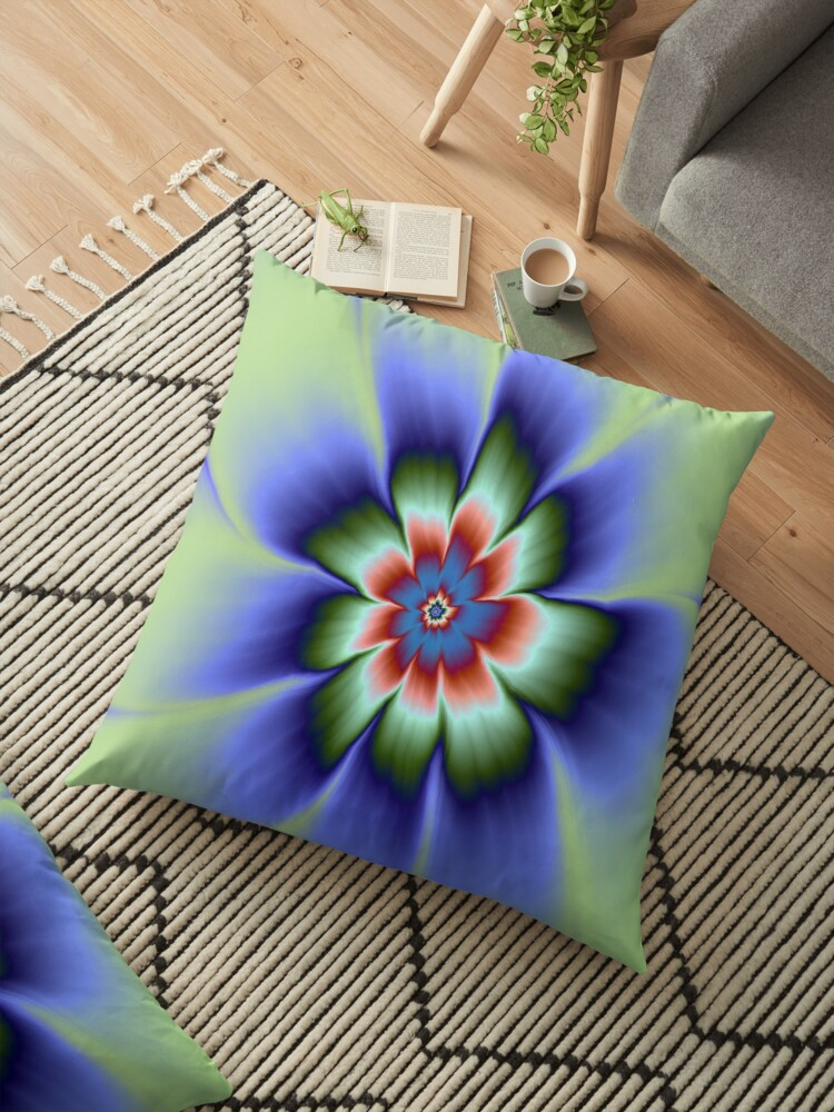 Green Blue and Rust Daisy Flower by Objowl