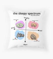 The Sleepy Spectrum - Tiny Snek Comics Throw Pillow