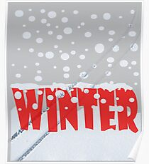 Winter scene with snow track Poster