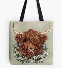 I sure hope this cow isn't allergic to daisies Tote Bag