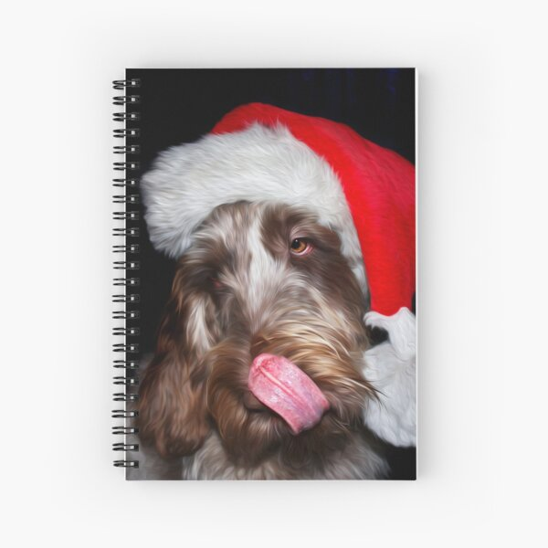 Brown Roan Italian Spinone wearing a Santa Hat Spiral Notebook