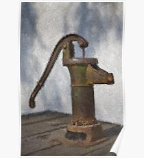 Stylized photo of a hand water pump at a horse trough in Old Town State Historic Park, San Diego CA. Poster