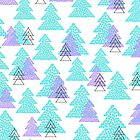 Cute winter design with mosaic pine trees. by InnaPoka