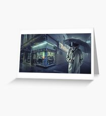 Lonely men walk lonely cities Greeting Card