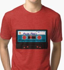 Music Heals cassette tape in Blue Tri-blend T-Shirt