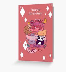 """Happy Birthday"" Cute Sloths Cats and Pandas Greeting Card"