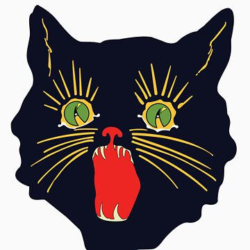 vintage 60's halloween cat design  by colorpress