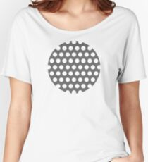 dots, medium gray and white Women's Relaxed Fit T-Shirt