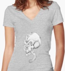 Mechanon-metal skull. Women's Fitted V-Neck T-Shirt