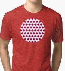 dots, white and medium purple Tri-blend T-Shirt