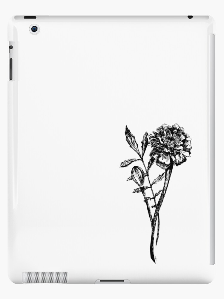 Black And White Marigold Flower Drawing Ipad Cases Skins By