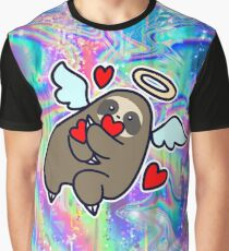 Angel Sloth and Hearts Rainbow Holographic Graphic T-Shirt