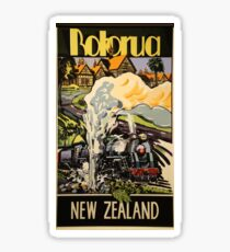 Vintage Travel Poster - Rotorua, New Zealand Sticker