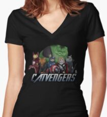 The Catvengers Women's Fitted V-Neck T-Shirt