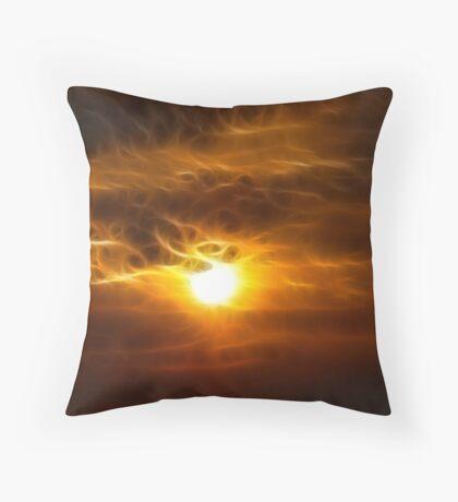 a fiery sunrise Throw Pillow
