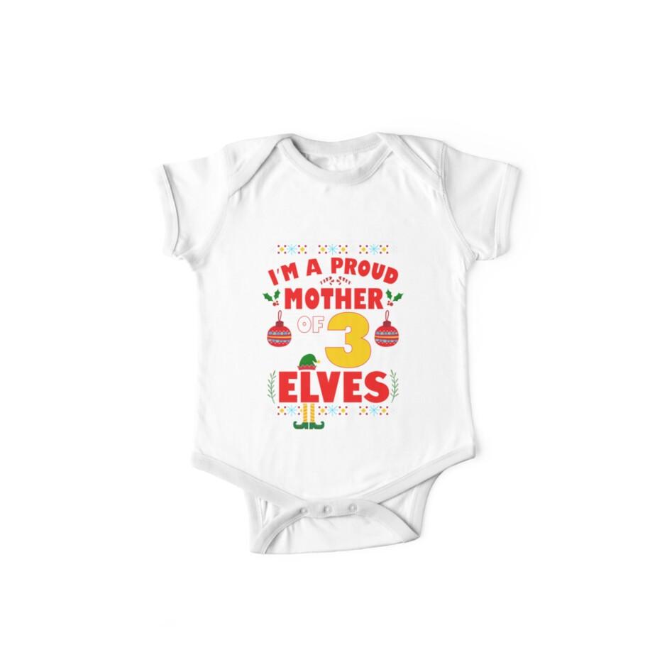 2dd15080db Body de manga corta para bebé «Orgullosa madre de 3 elfos pijama de ...