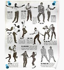 Swing Dance Instructional Pictorial Poster