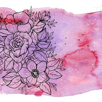 Aloha flower bouquet, pink and purple watercolors by thealohastudios