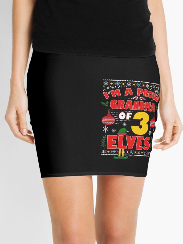 75c0370b50 Orgullosa abuela de 3 elfos Pijamas de duende de Navidad de la familia  Minifalda