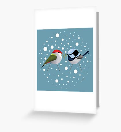 Christmas Finch and Wren Greeting Card