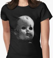 Spooky Doll Head Women's Fitted T-Shirt