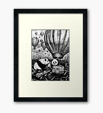 Pandas in Hot Air Balloons Framed Print