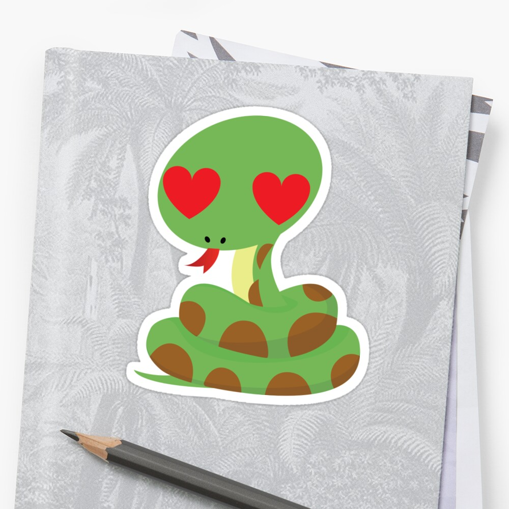 Snake Emoji Stickers By Hippoemo Redbubble