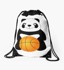 Panda with a basketball ball Drawstring Bag