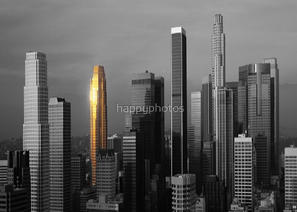 Black & white city buildings with a hint of color by happyphotos