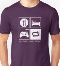 Camiseta ajustada Comer. Dormir. Juego. Repetir.