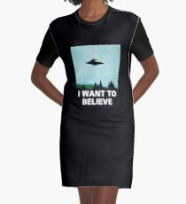 I WANT TO BELIEVE Graphic T-Shirt Dress