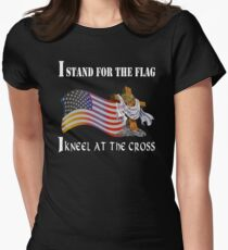 Stand For The Flag Kneel At The Cross  Women's Fitted T-Shirt