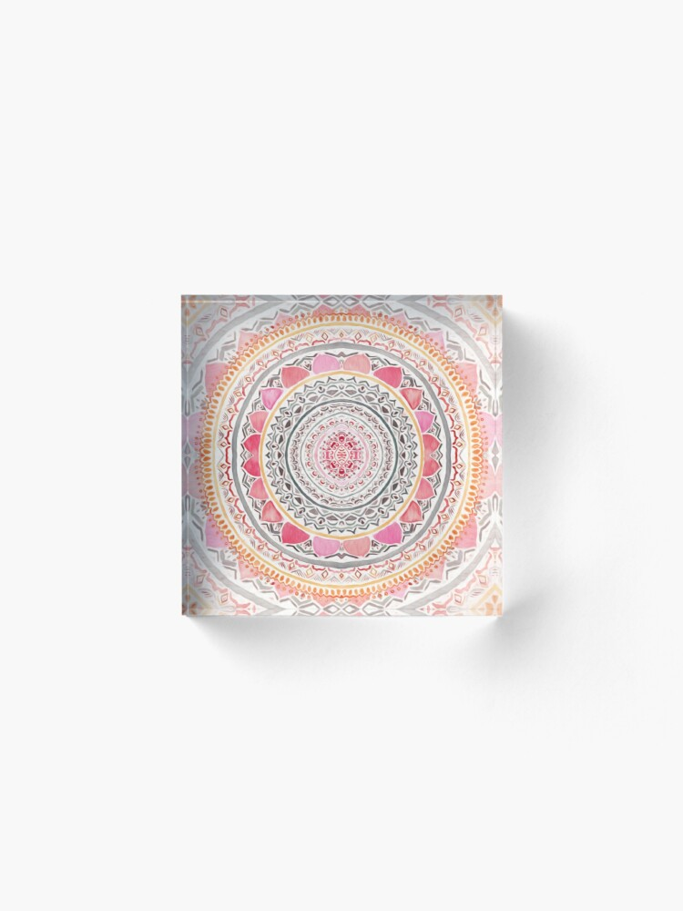 Alternate view of Pastel Bohemian Mandala Acrylic Block