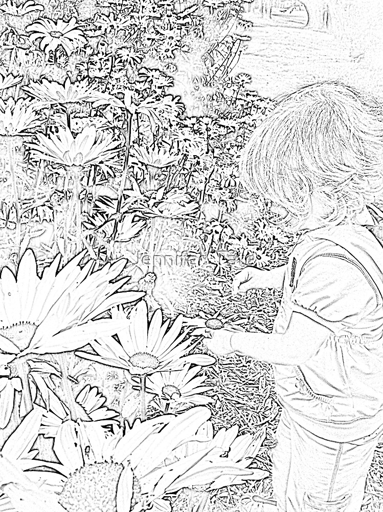 Little Girl With Flowers (sketch) by Jennifer  Tate