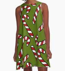 Candy Cane Pattern A-Line Dress