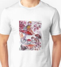 MAGIC FOLLET OF MUSHROOMS Whire Red Floral Fantasy T-Shirt