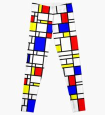 Modern Art Red Yellow Blue Grid Pattern Leggings