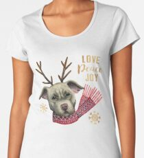 Christmas Reindeer Pit Bull with Faux Gold Snowflakes Women's Premium T-Shirt