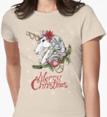 Christmas Unicorn Snow Background Women's Fitted T-Shirt