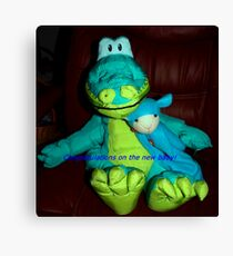 Dino and cat congratulate you on the new baby Canvas Print