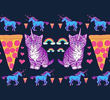 Kittycorn Pizza Rainbows by wytrab8
