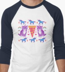 Kittycorn Pizza Rainbows Men's Baseball ¾ T-Shirt