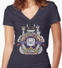Cuphead King Dice Casino Women's Fitted V-Neck T-Shirt
