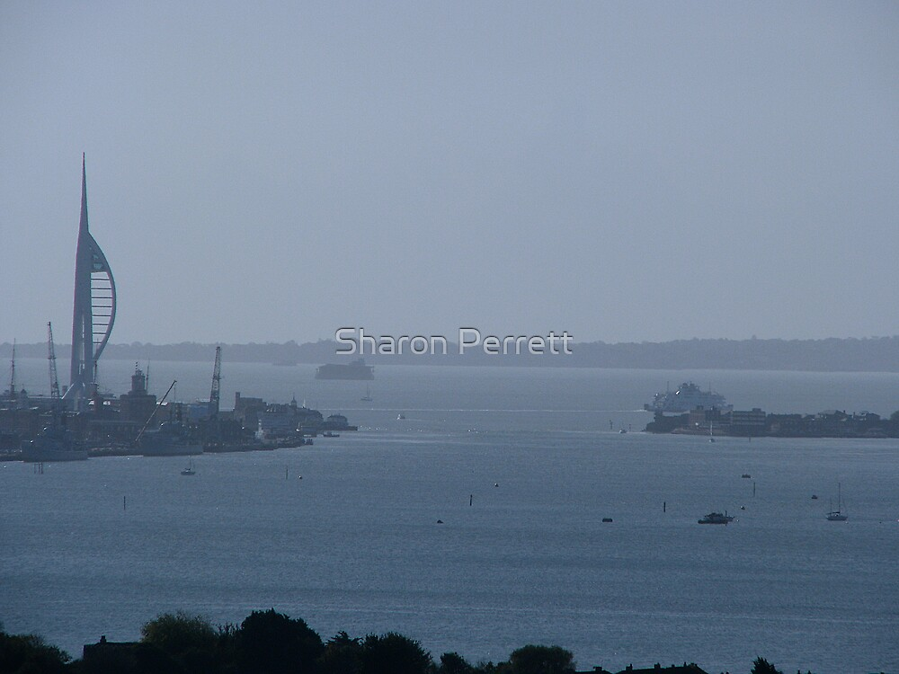 The Spinnaker Tower and the Solent from Portsdown Hill by Sharon Perrett
