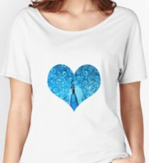 elbkatz` peacock heart blue Women's Relaxed Fit T-Shirt