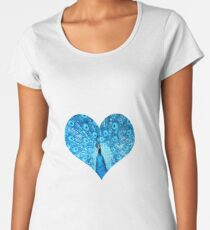 elbkatz` peacock heart blue Premium Scoop T-Shirt