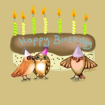 Happy Birthday Birds with Cake by cheriedirksen