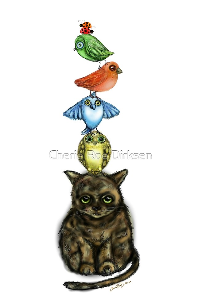 Balancing Act with Birds and a Cat by Cherie Roe Dirksen
