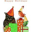 Cat and Bird Christmas Card by Cherie Roe Dirksen