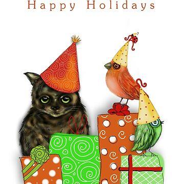 Cat and Bird Christmas Card by cheriedirksen